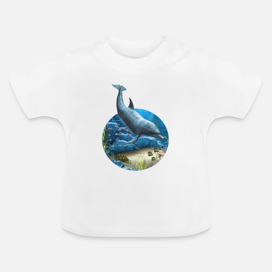 Tiere Babykleidung - The World Of The Dolphin - Baby T-Shirt Weiß