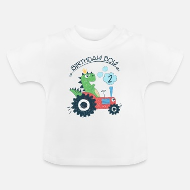 Second Second Birthday Boy Gift Dino 2nd 2nd - Baby T-Shirt
