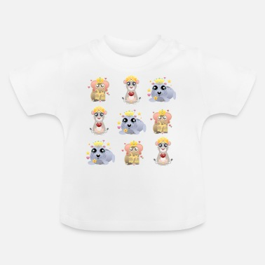 Crown KING trio elephant mouse seal mix - Baby T-Shirt