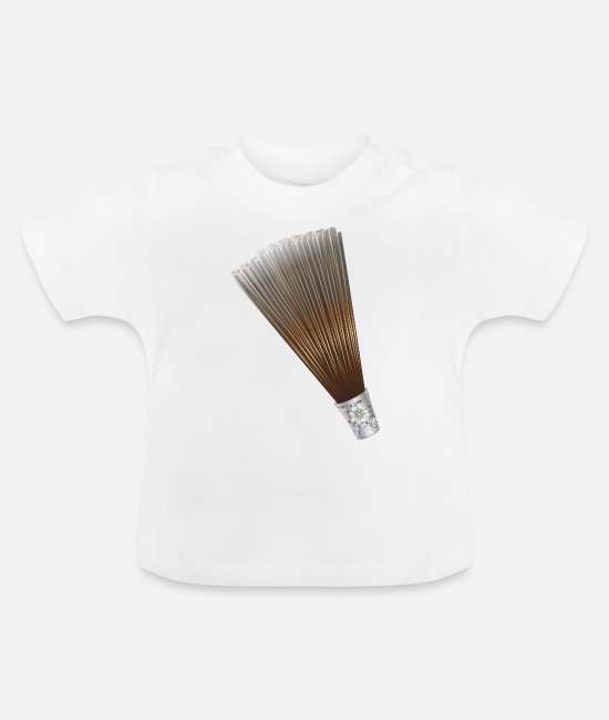 Meadow Baby T-Shirts - large chamois beard with edelweiss sleeve for traditional hat - Baby T-Shirt white