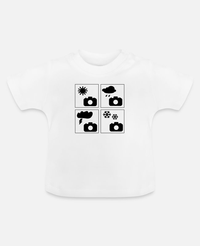 Wetter Baby T-Shirts - I'm taking photos in sun, rain, and snow - Baby T-Shirt Weiß