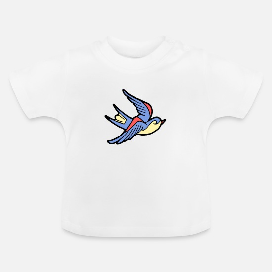 Love Baby Clothes - Bird hovering in freedom. Gift idea - Baby T-Shirt white