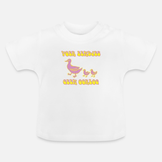 Peace Baby Clothes - Feed ducks, no war - Baby T-Shirt white