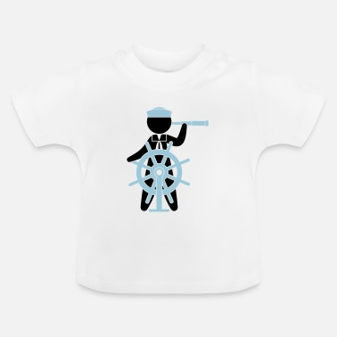 Navy A sailor controls the rudder of a ship - Baby T-Shirt
