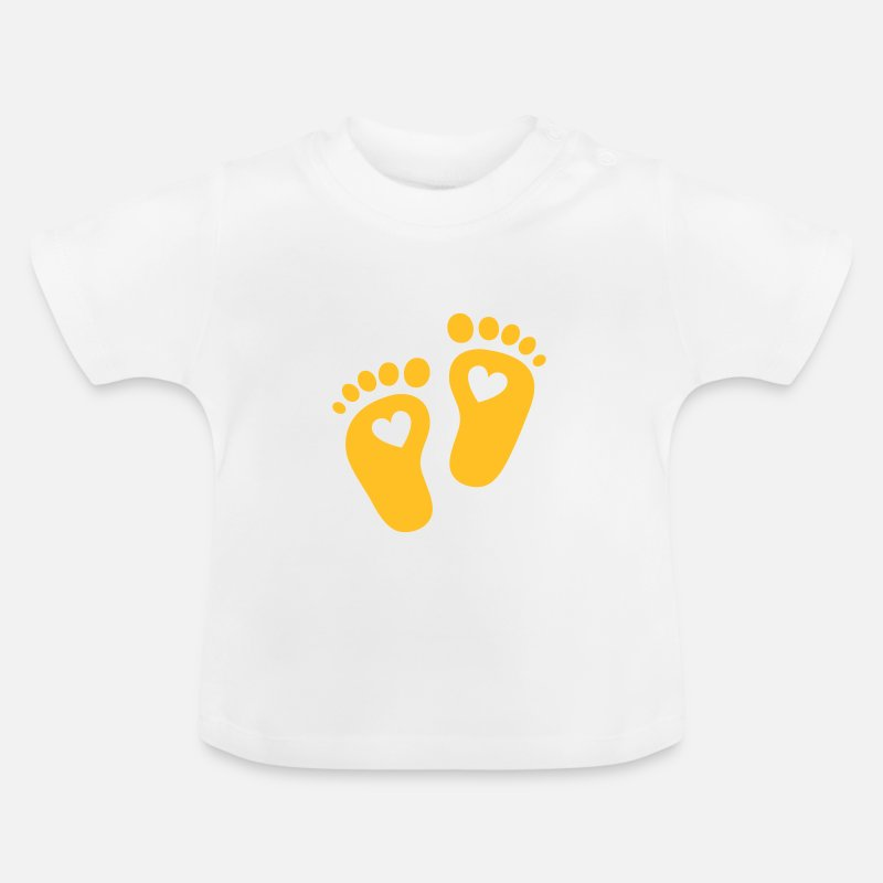 Baby Baby Clothing - Baby feet, heart, birth, gift, mom, pregnancy - Baby T-Shirt white