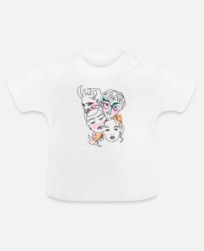 Graphics Baby T-Shirts - Face, graphic, line art, faces - Baby T-Shirt white