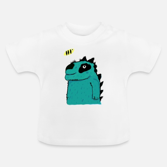 For Kids Baby Clothes - blue-dino-bine - Baby T-Shirt white