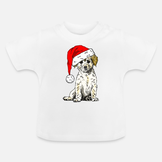 Christmas Baby Clothes - Christmas Doggy - Baby T-Shirt white