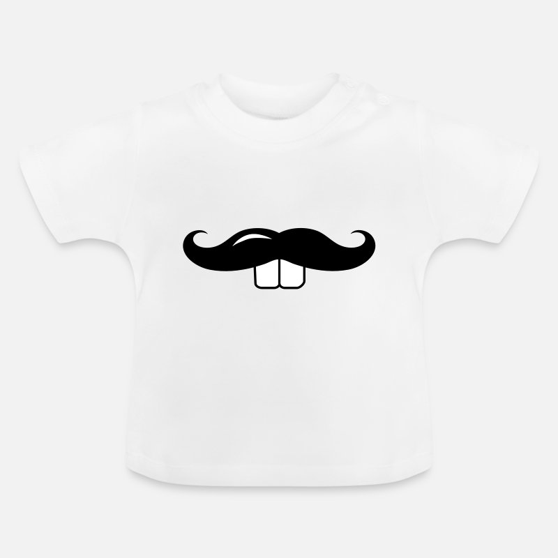 Bunny Baby Clothes - A mustache with Buck teeth - Baby T-Shirt white