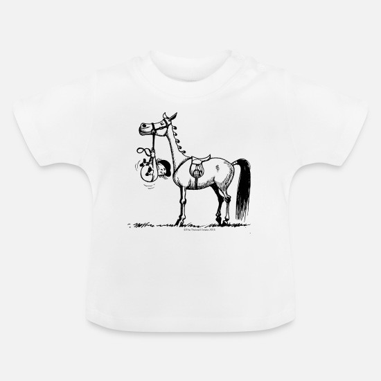 Funny Baby Clothes - Stubborn Pony Thelwell Cartoon - Baby T-Shirt white