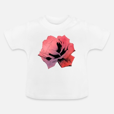 Flower Rose flower blossom silhouette watercolor - Baby T-Shirt