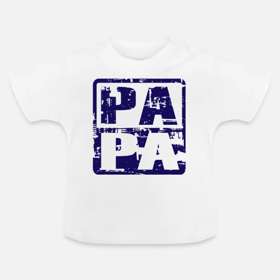 Dad Baby Clothes - PAPA Vintage Navy - Baby T-Shirt white