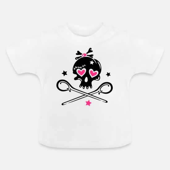 Love Baby Clothes - Skull girlie with hearts - Baby T-Shirt white