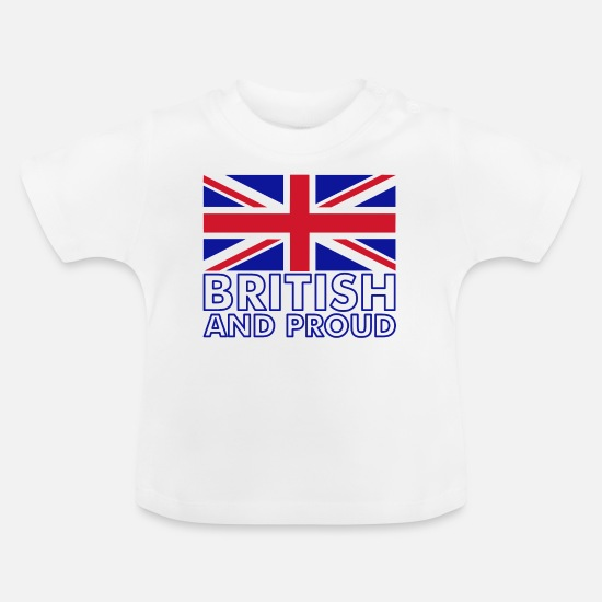 Glasgow Baby Clothes - British and Proud - Baby T-Shirt white