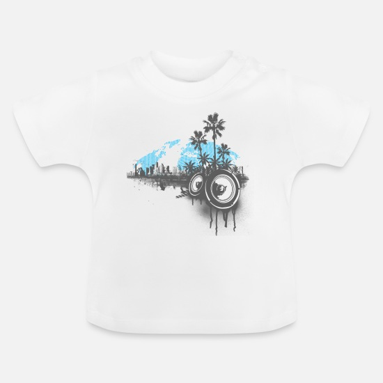 Miami Baby Clothes - Urban City Speaker - Baby T-Shirt white