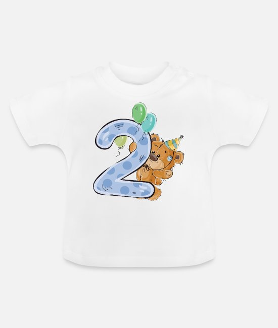 Oude Baby shirts - Teddybeer 2 jaar verjaardag Happy Birthday - Baby T-shirt wit