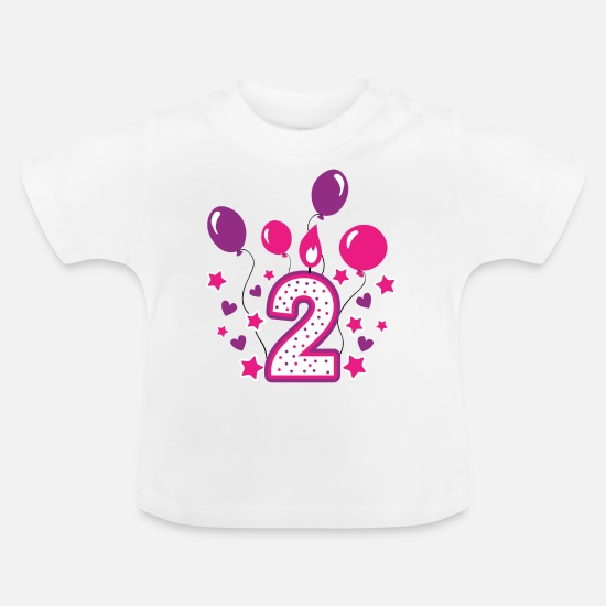 Birthday Girl Baby Clothes - second birthday girl, 2nd birthday gift - Baby T-Shirt white