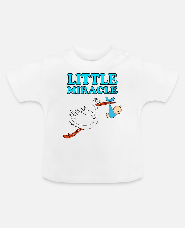 Kinderwagen Baby T-Shirts - Little Miracle Baby Klapperstorch Junge Geburt - Baby T-Shirt Weiß