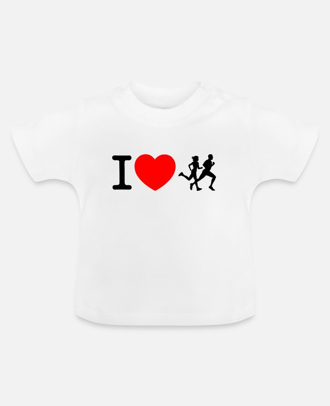 Heart Baby T-Shirts - I love racing - jogging - Baby T-Shirt white