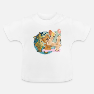 Teddy Bear 4 jaar verjaardag Happy Birthday - Baby T-shirt
