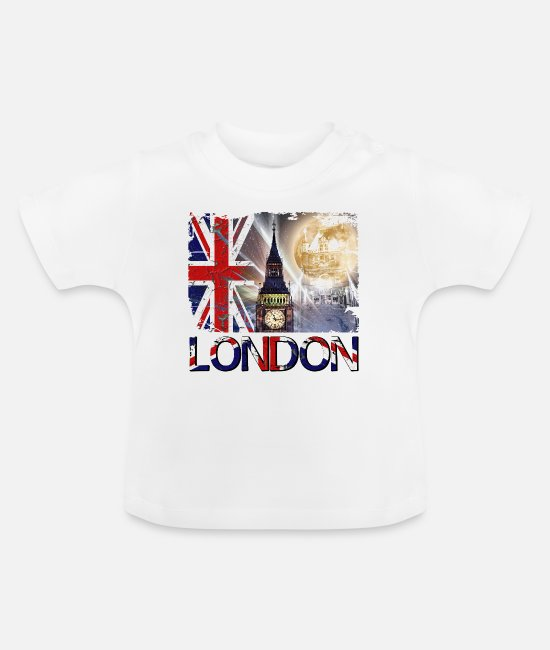 Erinnerung Baby T-Shirts - London England UK Flagge Big Ben Tower Bridge - Baby T-Shirt Weiß