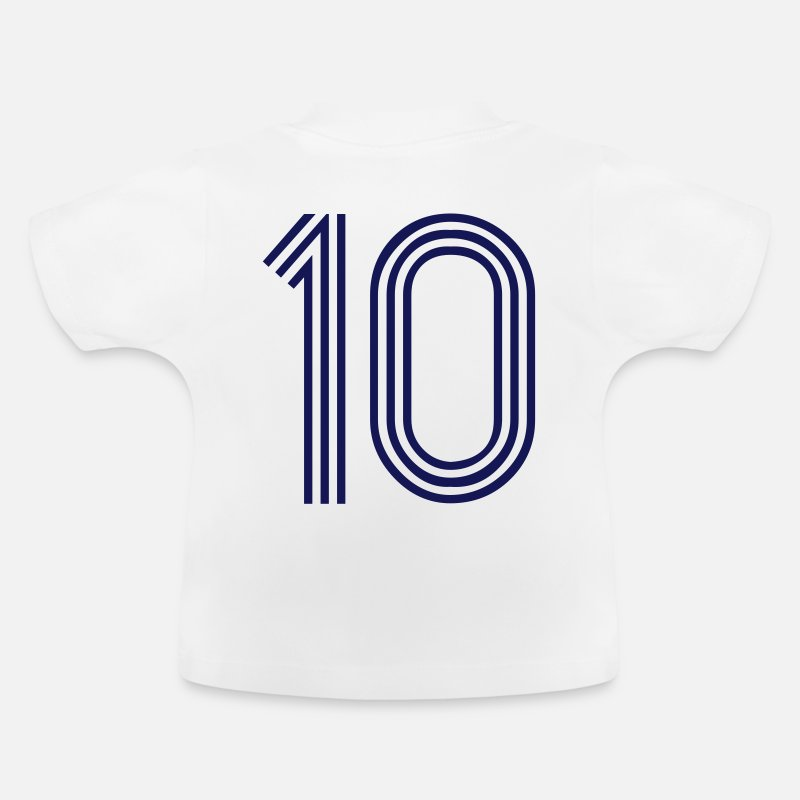 Number Baby Clothing - 10, best football, fußball, football, soccer, sports, Zahlen, Ziffern, Numbers, Rennen, Race, www.eushirt.com - Baby T-Shirt white