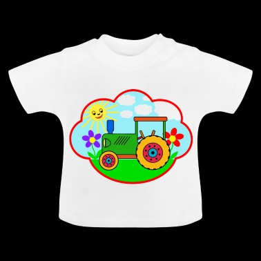Green Traktot on the meadow - Baby T-Shirt