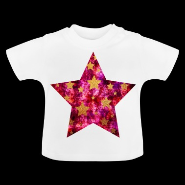 Star with asterisks - Gold on Grunge Pink - Baby T-Shirt