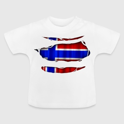 Norway flag torn 017 - Baby T-Shirt