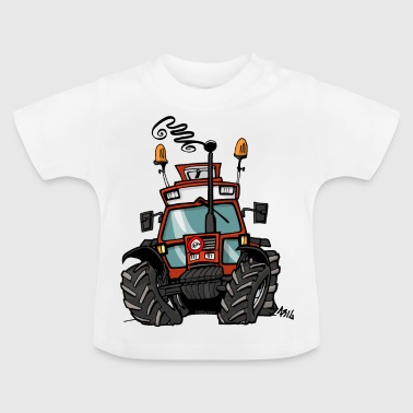 0264 brown tractor 90 90 - Baby T-Shirt