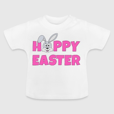 Hoppy Easter pink with bunny rabbit gray - Baby T-Shirt