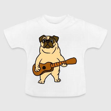Mops-Hund, der Gitarren-Gitarrist Cartoon Animal spielt - Baby T-Shirt