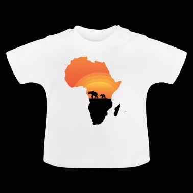 Africa - Elephant - Map - Map - Sunset - Baby T-Shirt