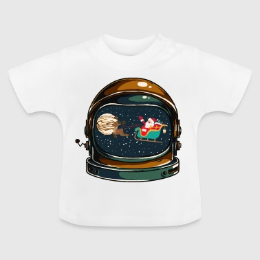 Astronaut helm with Santa Claus and reindeer - Baby T-Shirt