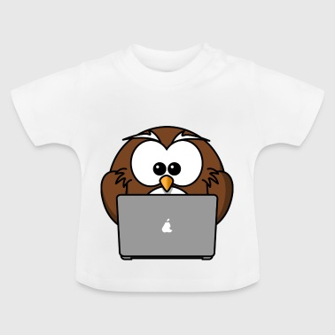 Laptop ugle med notebook - Baby T-shirt