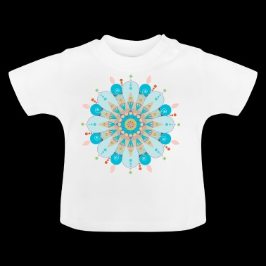 Mandala flower with blue sand - Baby T-Shirt