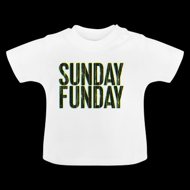 Sunday Funday 3D look lettertype geel / turkoois - Baby T-shirt