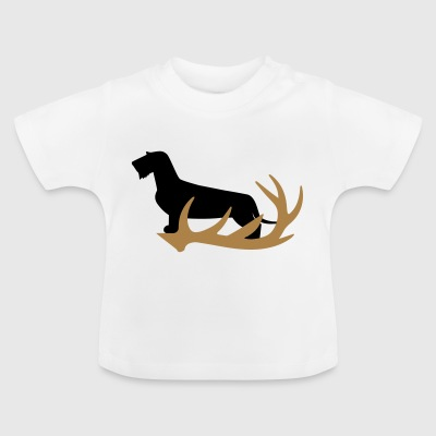 Rauhaardackel with antler - Baby T-Shirt