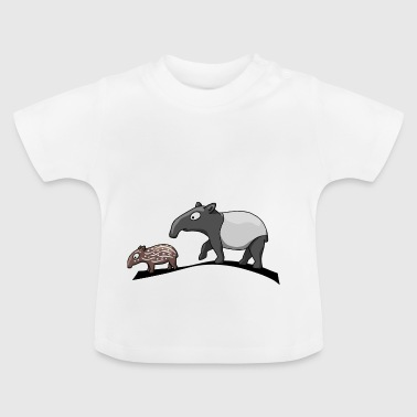 Tapir family cartoon comic animal gift - Baby T-Shirt