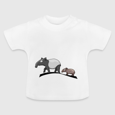 Tapir family mother and baby baby sweet present - Baby T-Shirt