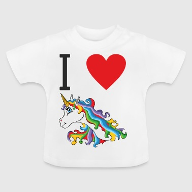 I love cute, colorful, cute unicorns. - Baby T-Shirt