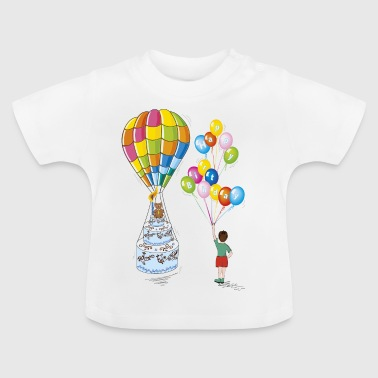 child birthday cake with hot air balloon - Baby T-Shirt