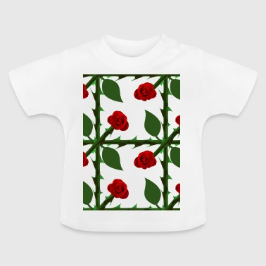 Rote Rosen-Muster - Baby T-Shirt