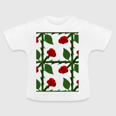 Red Rose Pattern - Baby T-shirt