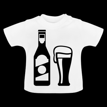 Beer bottle with beer glass - Baby T-Shirt