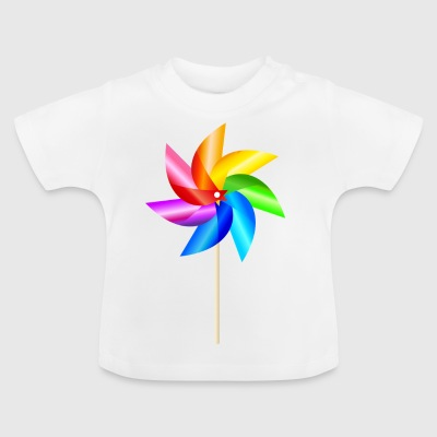 colorful windmill children's toys rainbow Summer - Baby T-Shirt