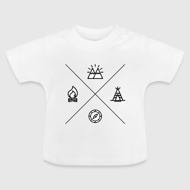 Camping and camping with camp fire and compass - Baby T-Shirt