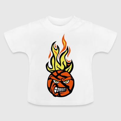 Basketball-Cartoon-Gesicht flamme13 Feuer fe - Baby T-Shirt
