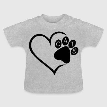 Cat Cats Heart Paw Pet Animals Cat Cats sw - Baby T-Shirt
