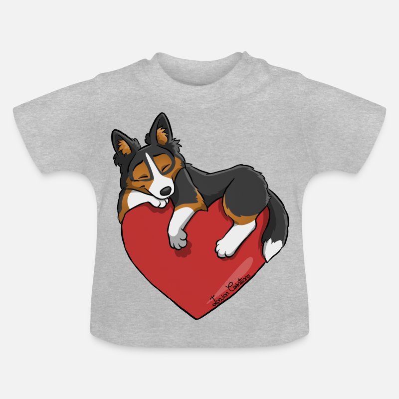 Border Collie Vêtements Bébé - Border Noir Tricolore - T-shirt Bébé gris chiné